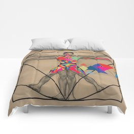 Vitruvian Man and a Burst of Color Comforters