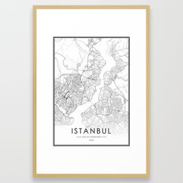 Istanbul City Map Turkey White and Black Framed Art Print