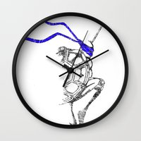 ninja Wall Clocks featuring Ninja by Future Emperor