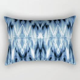 Blue Satin Shibori Argyle Rectangular Pillow