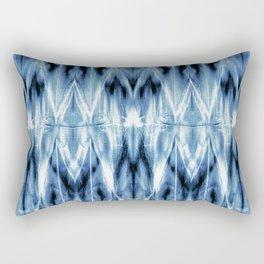 Blue Satin Shibori Argyle Rectangular Pillow