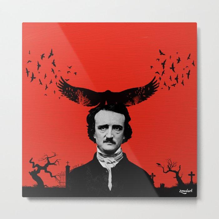 Edgar Allan Poe / Raven / Digital Painting Metal Print