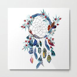 Boho vector fashion illustration with dreamcatcher and colorful feathers Metal Print