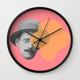 James Joyce - portrait pink and yellow Wall Clock
