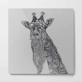 Giraffe Movember Metal Print