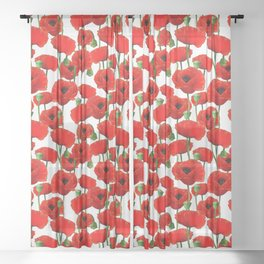 Red Poppy Pattern Sheer Curtain