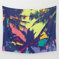 palm tree Wall Tapestries featuring Palm tree by PINT GRAPHICS