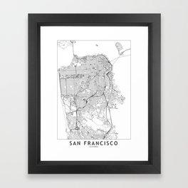 San Francisco White Map Framed Art Print