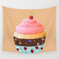 cupcake Wall Tapestries featuring Cupcake by Art Studio