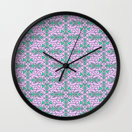 Turquoise Lasso Cowgirl Pink and Green Arrowhead Cowgirl Dreams Abstract Southwestern Design Pattern Wall Clock