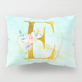 Gold Foil Alphabet Letter E Initials Monogram Frame with a Gold Geometric Wreath Pillow Sham