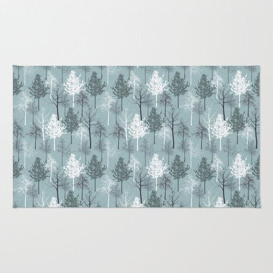Blue and White Trees Rug