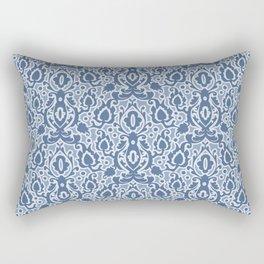 Casbah Blue Moroccan Damask Rectangular Pillow