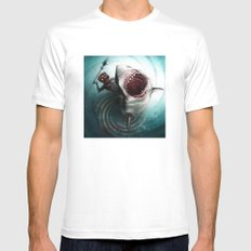 Shark Hunter White X-LARGE Mens Fitted Tee