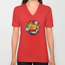 Soccer ball with flags of Spain in the center Unisex V-Neck