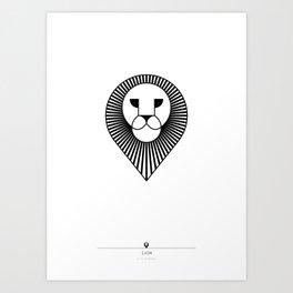 animal PICTOGRAMS vol. 4 - LIONS Art Print