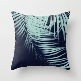 Palm Leaves Blue Summer Night Vibes #1 #tropical #decor #art #society6 Throw Pillow