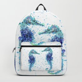 Blue Turquoise Watercolor Seahorse Backpack