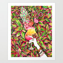 Summer Refreshment_Flamingo Art Print