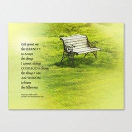 Serenity Prayer Bench Canvas Print
