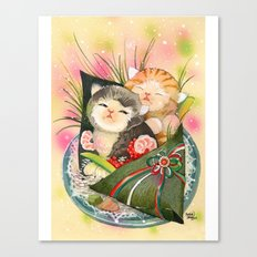 Christmas Kittens Sushi Wrap Canvas Print