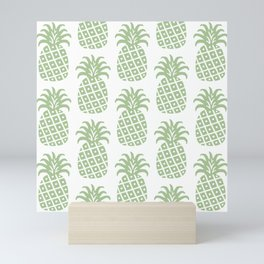 Retro Mid Century Modern Pineapple Pattern Sage Green Mini Art Print