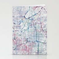 kansas city Stationery Cards featuring Kansas city map by MapMapMaps.Watercolors