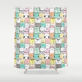 Crowd Of Hip Cats In Hats Shower Curtain