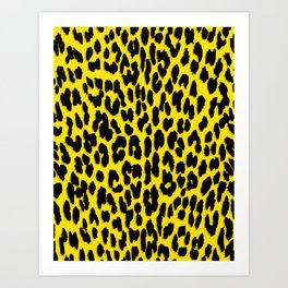 Bright Yellow & Black Leopard Print Art Print