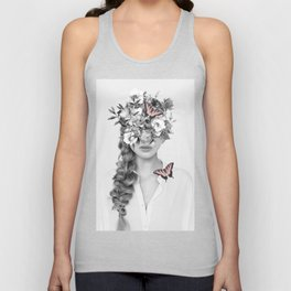 woman with flowers and butterflies 9a Unisex Tank Top