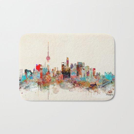 shanghai city skyline Bath Mat