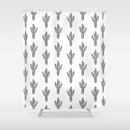 Cactus minimal modern black and white art decor painting trendy hipster southwest desert gifts  Shower Curtain