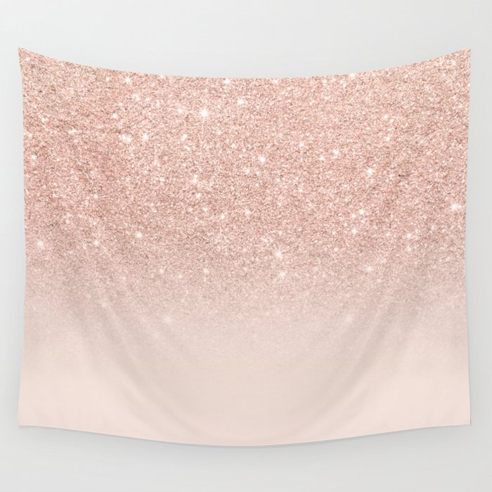 Rose Gold Faux Glitter Pink Ombre Color Block Wall