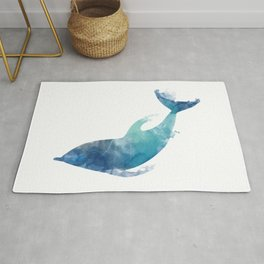 Watercolor playing Dolphin Rug