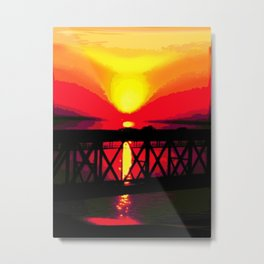 Sunset On The Bay Bridge Metal Print