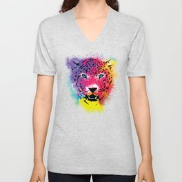 Tiger - Colorful Paint Splatters Dubs Unisex V-Neck