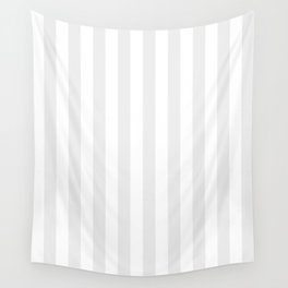 Narrow Vertical Stripes - White and Pale Gray Wall Tapestry