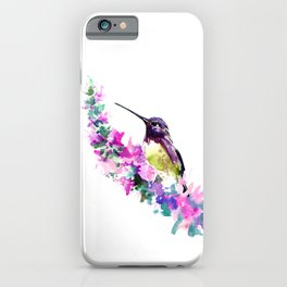 Hummingbird and Pink Flower iPhone Case
