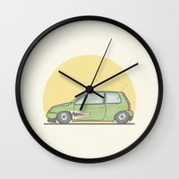 volkswagen Wall Clocks featuring Volkswagen Lupo vector illustration by Underground Worm