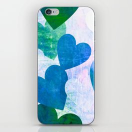 Fab Green & Blue Grungy Hearts Design iPhone Skin