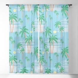 Summer Palm Trees Tropical Beach Vacation Pattern Sheer Curtain