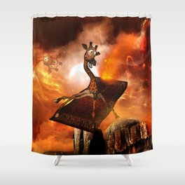Funny, cute giraffe flys with a rug Shower Curtain