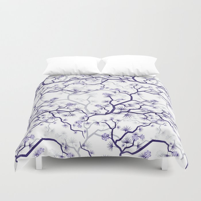 Abstract Navy Blue Gray Lavender Floral Illustration Duvet Cover By