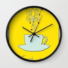 Aaah...coffee...  Retro / Vintage Coffee Print on Hello Sunshine Background Wall Clock