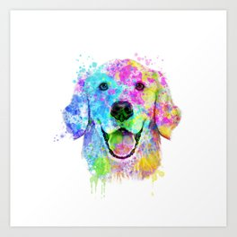 Golden Retriever Watercolor, Watercolor Dog, Golden Retriever Art Art Print