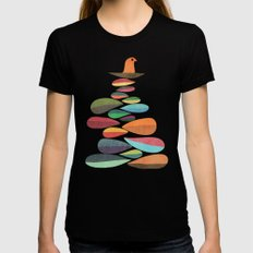 Bird nesting on top of pebbles hill Black Womens Fitted Tee X-LARGE