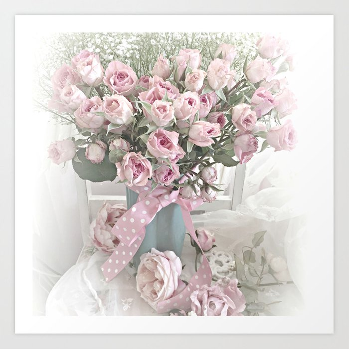 Pastel Roses In Vase Shabby Chic Roses Pink Aqua Floral Print Home