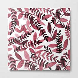 Watercolor branches - red Metal Print