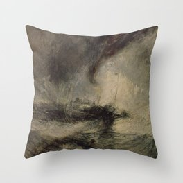 Snow Storm in Front of the Harbor Entrance J. M. W. Turner Throw Pillow