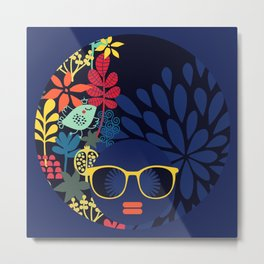 Afro Diva : Sophisticated Lady Blue Metal Print